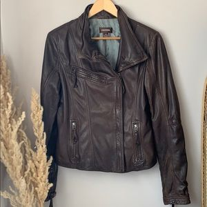 Danier Leather Brown Motto Jacket Size Large